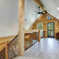 Inside Redwood Home complete upper loft with vaulted ceilings