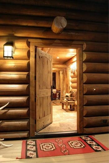 Open Door on Log House